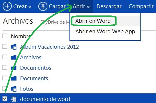 Abrir documentos en SkyDrive con Office de manera local