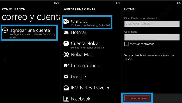 Acceder a Outlook.com desde Windows Phone