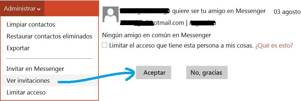 Aceptar invitaciones de Messenger antiguas