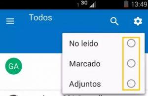 Activar los filtros de Outlook para Android