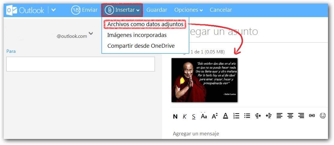 Adjuntar archivos en Outlook