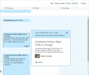 Administración de vuelos por parte del calendario de Outlook.com