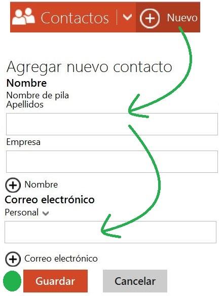 Agregar un nuevo contacto de Outlook