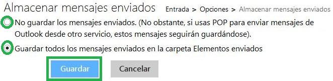 Almacenar mensajes enviados en Outlook.com