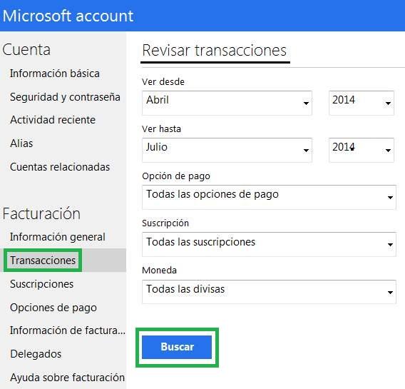 Apartado de transacciones en Outlook.com