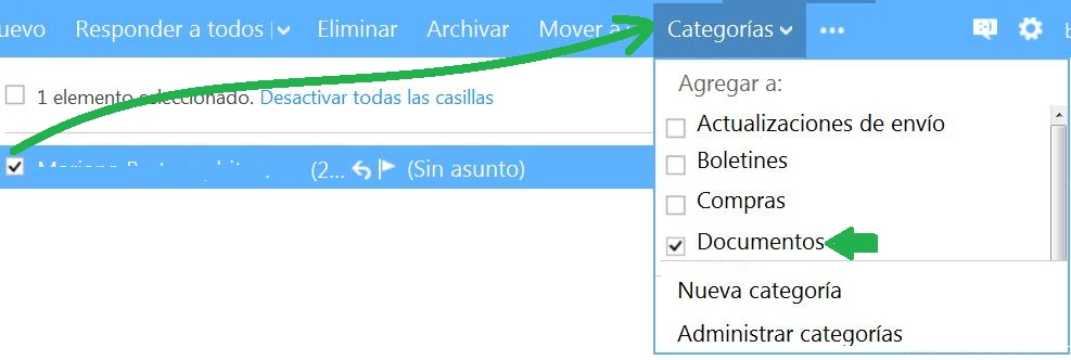 Asignar categorías en Outlook.com