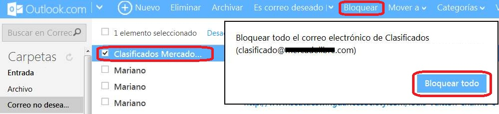 Bloquear la casilla de un remitente de spam en Outlook