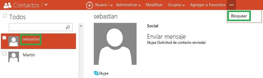 Bloquear los contactos de Skype desde Outlook
