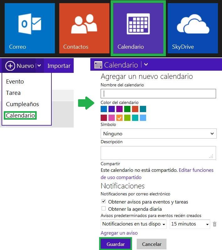 Cómo crear un calendario en Outlook.com con el nuevo entorno