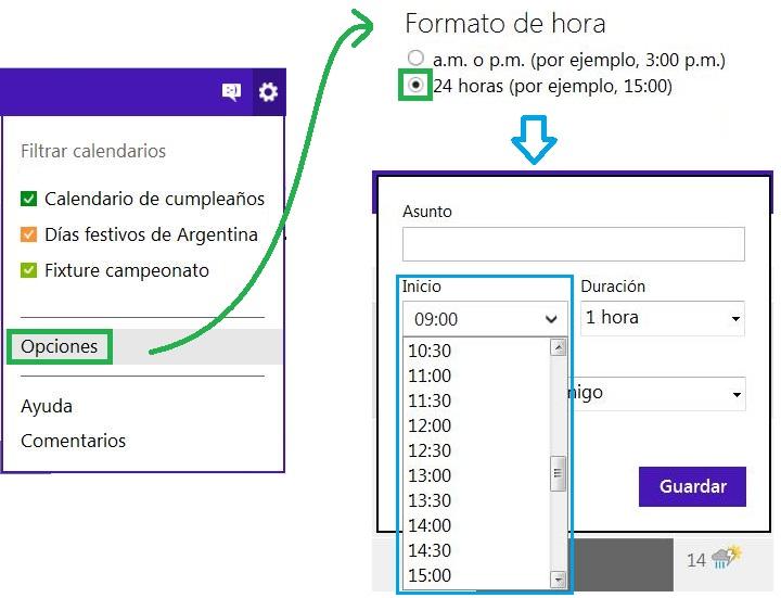 Cambiar el formato de la hora en el calendario de Outlook.com