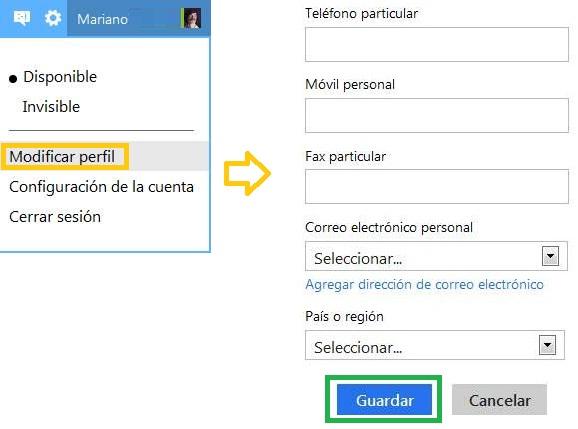 Cambiar el número de contacto en Outlook.com