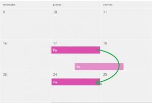 Cambiar la fecha de los eventos en el calendario