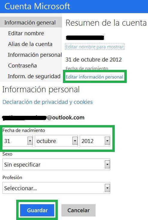 Cambiar la fecha de nacimiento en Outlook.com
