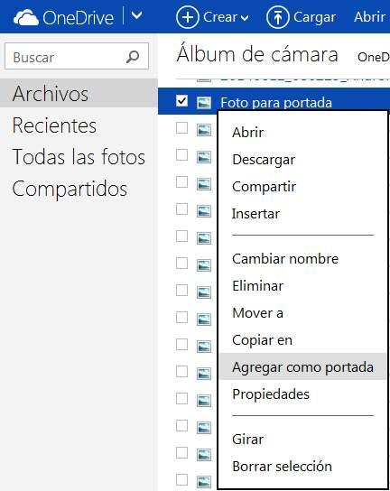 Cambiar la imagen de portada de las carpetas de OneDrive