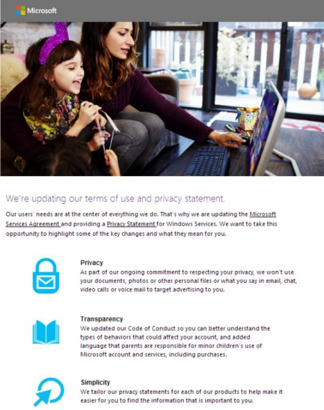 Cambios en las condiciones de uso de Microsoft