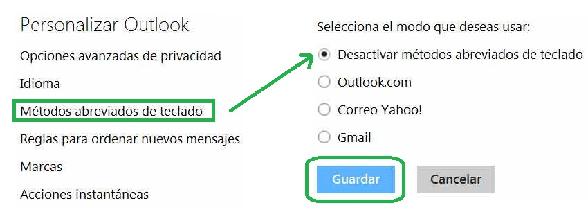 Cancelar los métodos abreviados para Outlook.com