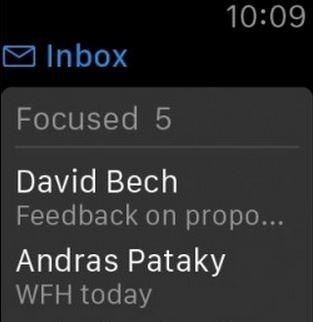 Caracteristicas de Outlook en Apple Watch