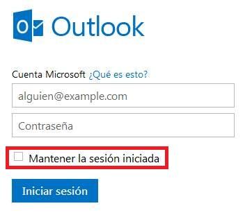 Cerrar la sesión automáticamente en Outlook.com