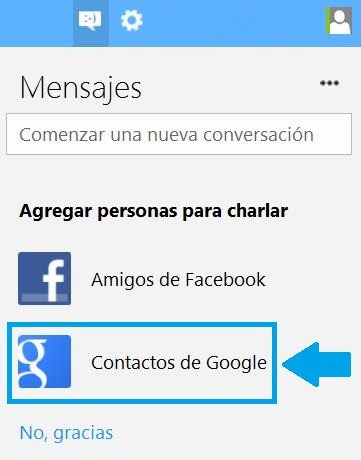 Chatear con contactos de Gmail desde Outlook.com