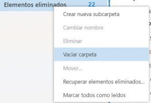 Como limpiar la papelera en Outlook.com