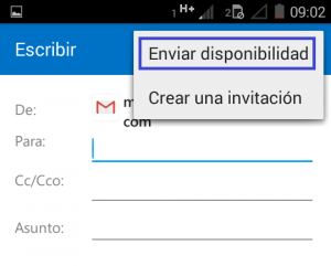 Compartir la disponibilidad en Outlook para Android