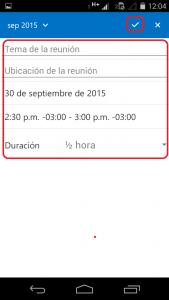 Completar invitación en Outlook para Android