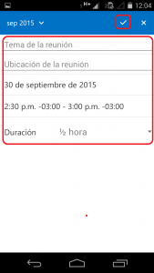 Completar invitación en Outlook para Android