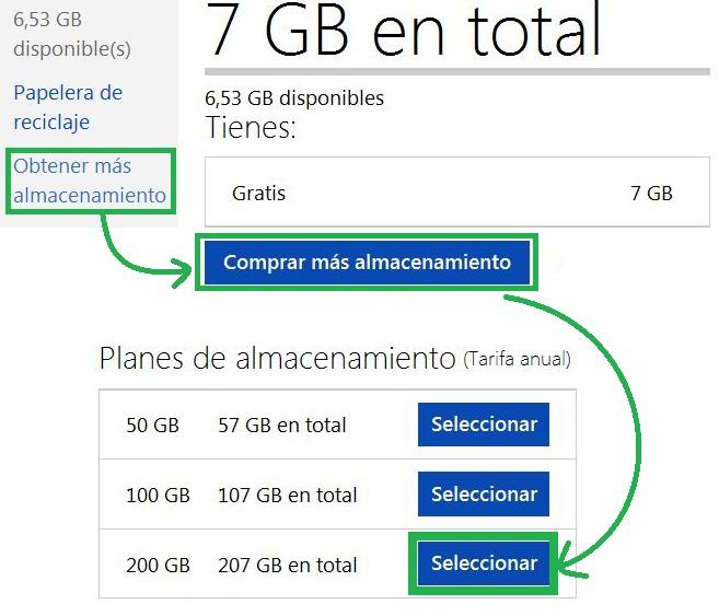 Comprar 200GB de almacenamiento para SkyDrive