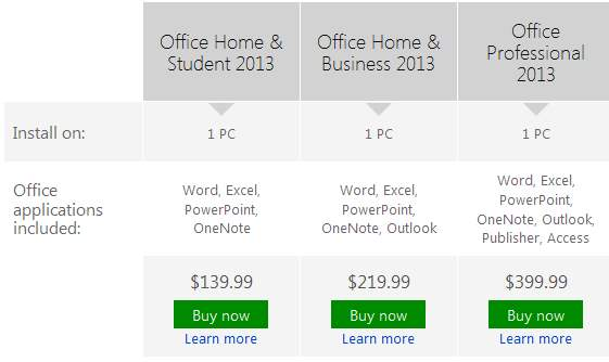 Comprar Office 2013