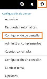 Configuración de pantalla de Outlook.com