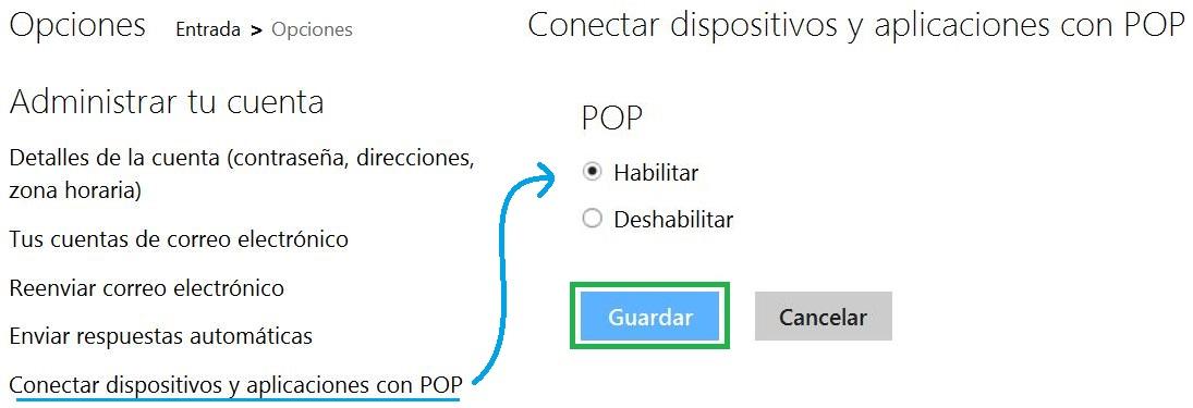 Configuración para habilitar el correo POP en Outlook.com