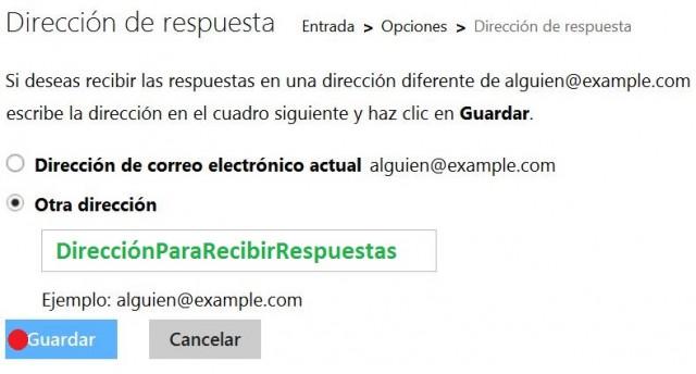 Configurar la dirección de respuesta en Outlook.com