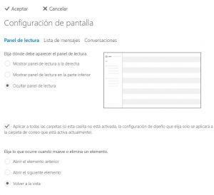 Configurar la pantalla de Outlook.com