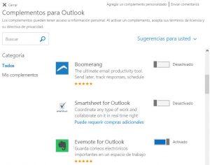 Configurar los complementos de Outlook.com