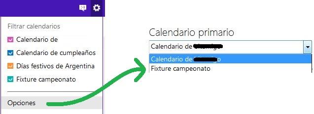 Configurar un calendario como principal de Outlook.com