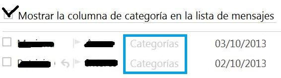 Conocer la categoría de cada correo en Outlook.com