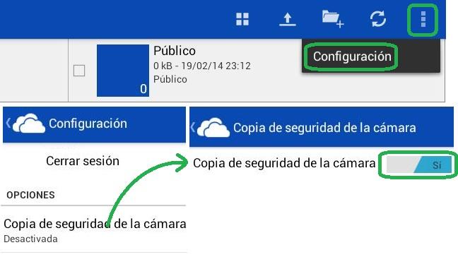 Copia de seguridad de la cámara en OneDrive para Android