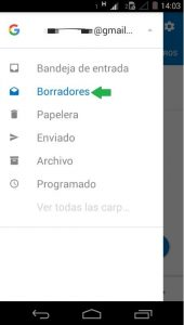 Correos en borrador de Outlook para Android