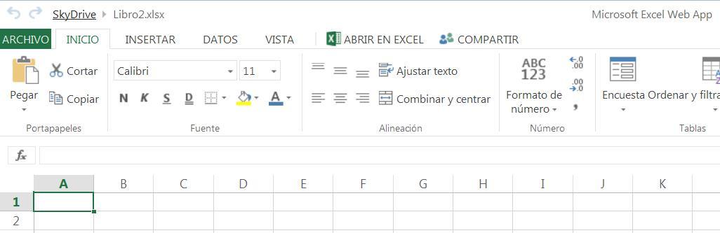 Crear un libro de Excel en SkyDrive