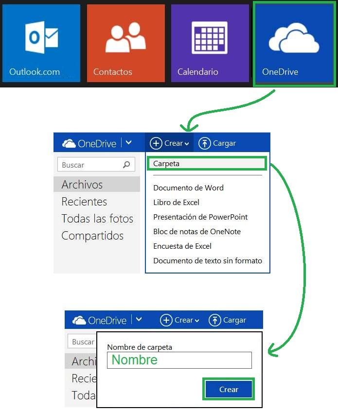 Crear una nueva carpeta en OneDrive