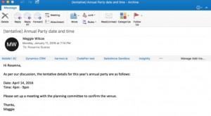 Cuadro de redacción de correos en Outlook para Mac