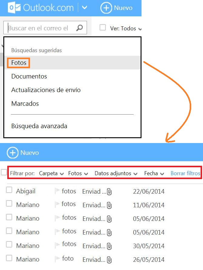 búsquedas sugeridas en Outlook
