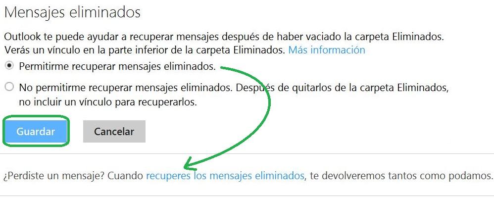 Desactivar la opción para recuperar mensajes eliminados
