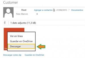 Descargar archivos recibidos en Outlook.com