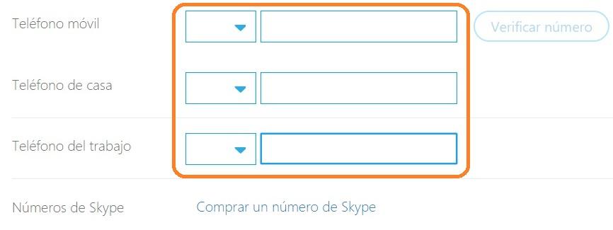 Editar números de skype