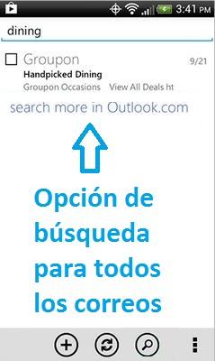 El buscador de la aplicación Outlook.com para Android