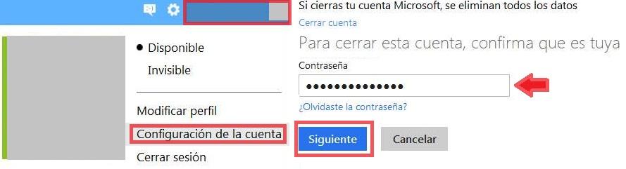 Eliminar la cuenta Outlook