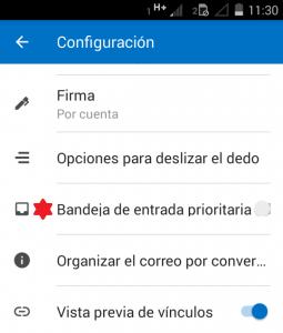 Eliminar la pestaña de prioritarios en Outlook para Android