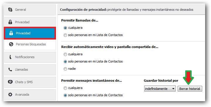 Eliminar las conversaciones de chat de Skype para escritorio