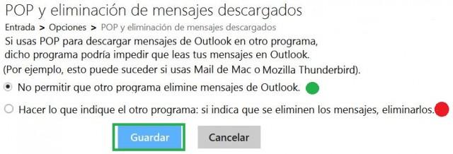 Eliminar mensajes de Outlook.com desde un cliente de correo electrónico